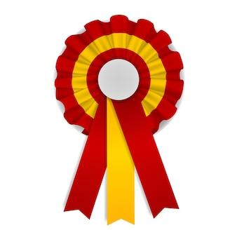 리본이 달린 빨간색과 노란색 장미 스페인 Cockade 프리미엄 벡터