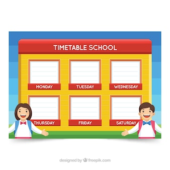 Red and yellow school timetable