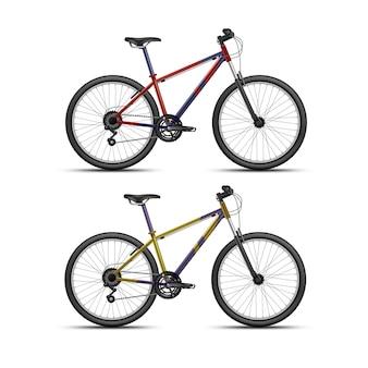 Красный и желтый спортивный велосипед на белом фоне