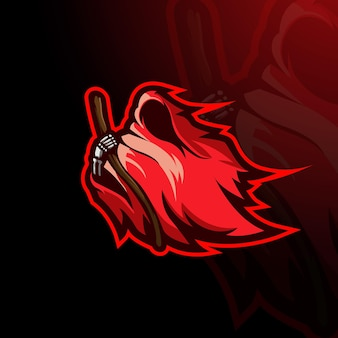 Red angel of death esport mascot logo design illustration vector