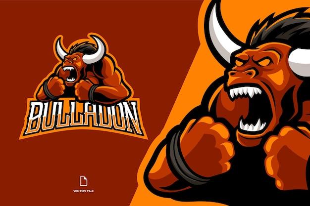 Красный злой бык талисман спортивная игра логотип иллюстрации команда