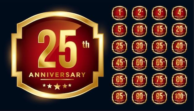 Grande set di etichette d'oro anniversario rosso