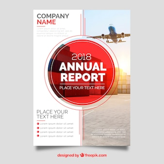 Red annual report cover with image