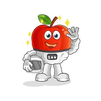 キャラクターマスコットを振っている赤いリンゴの宇宙飛行士