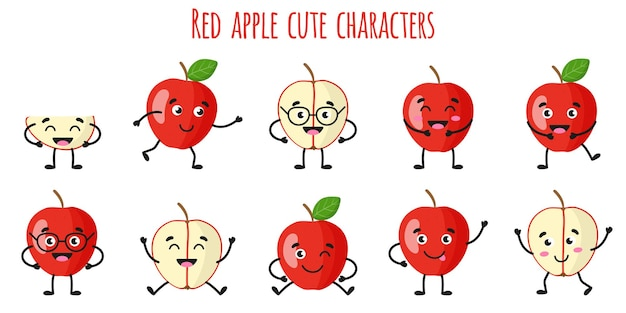 Red apple fruit cute funny cheerful characters with different poses and emotions. natural vitamin antioxidant detox food collection.   cartoon isolated illustration.
