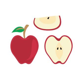 평면 그림에 빨간 사과 과일