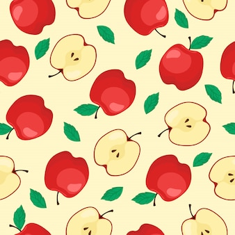 Red apple fruit seamless pattern