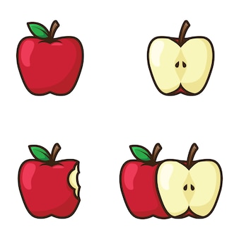 Red apple illustration with outline