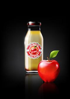 Red apple juice in a glass bottle