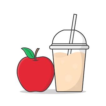 テイクアウトプラスチックカップアイコンイラストで赤いリンゴジュースまたはミルクセーキ