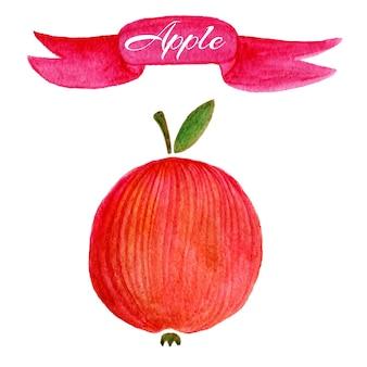 赤いリンゴのロゴデザインテンプレート。食品または果物のアイコン。
