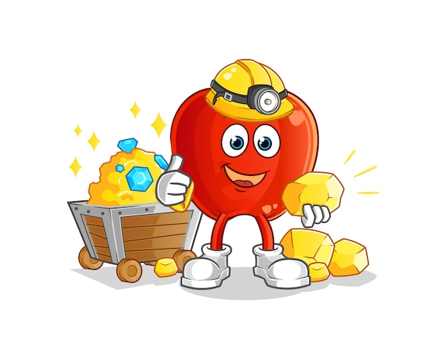 ゴールドのキャラクターマスコットと赤いリンゴの鉱夫