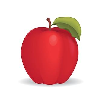 Red apple realistic ilustration