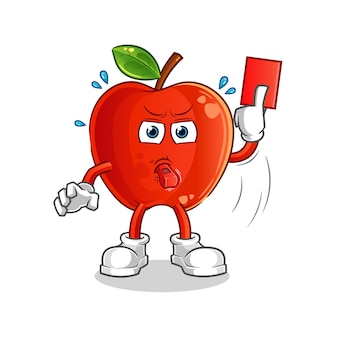 Red apple referee with red card cartoon mascot
