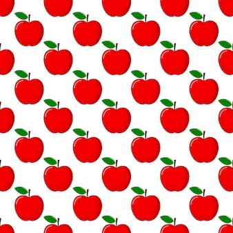 Red apple seamless pattern and slices. fruit summer