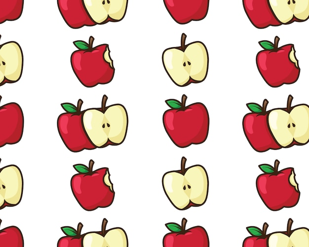 Red apple seamless pattern