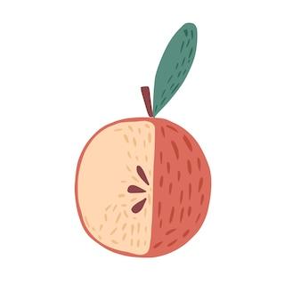 나뭇가지와 흰색 배경에 고립 된 잎 빨간 사과. 낙서 스타일 벡터 일러스트 레이 션에 그려진 씨앗 손으로 사과.