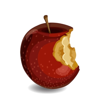 Red apple with bites isolated.