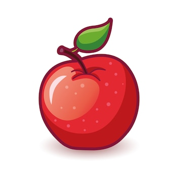 Red apple with leaf drawn vector icon illustration isolated
