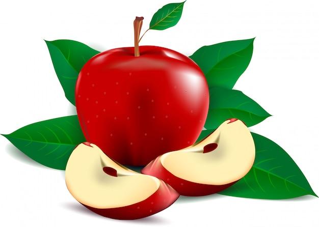Красное яблоко с листьями