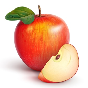 Red apple with a slice