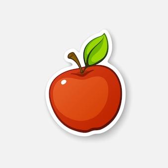 茎と葉の赤いリンゴ健康的なベジタリアン料理ベクトルイラスト
