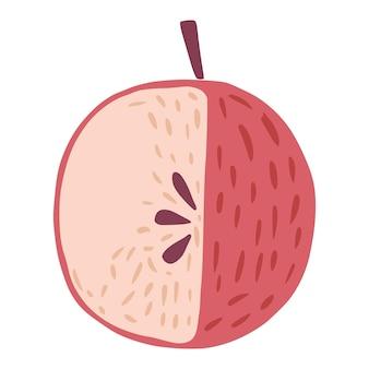나뭇가지와 흰색 배경에 고립 된 잎 없이 빨간 사과. 낙서 스타일 벡터 일러스트 레이 션에 그려진 씨앗 손으로 사과.