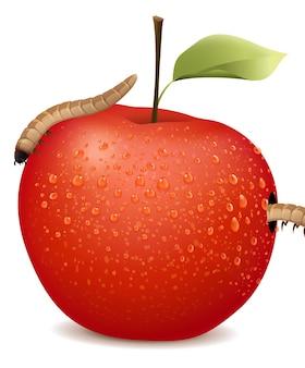 2つのワームと赤いリンゴ