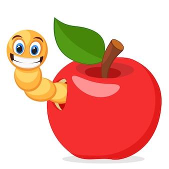 Красное яблоко с червем на белом фоне. символ.