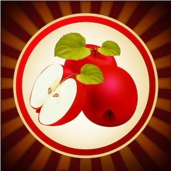 Red apples fruit layout design template