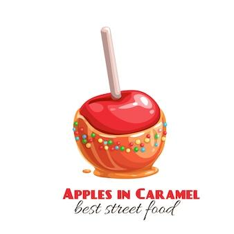 キャラメルやタフィーの赤いリンゴ。ハロウィーンのお菓子屋台