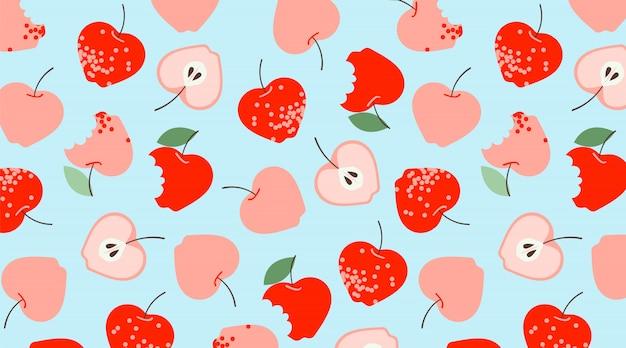 Красные яблоки шаблон. ручной обращается вектор бесшовные