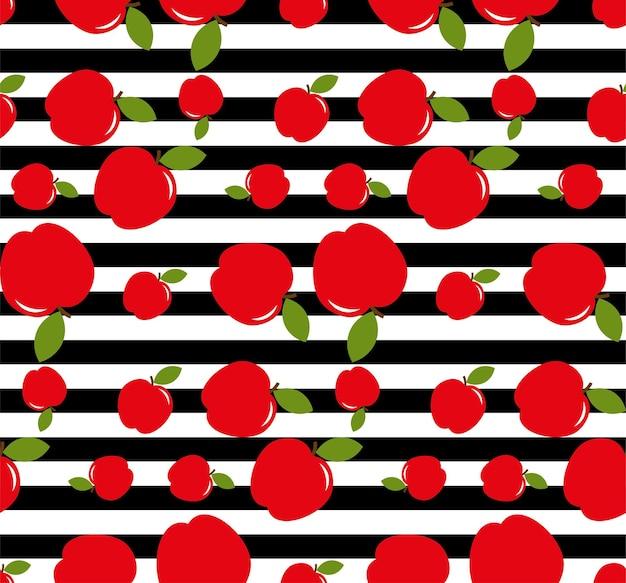 赤いリンゴは、黒と白の縞模様の背景に署名します。リンゴのシームレスパターン