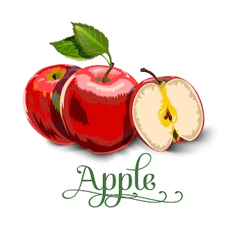 Red apples with green leaves and apple slice
