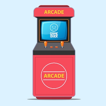 赤いアーケードゲーム機。ゲームオーバー画面のキャプションの図