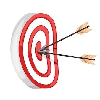 중앙에 두 개의 화살표가있는 빨간 양궁 대상. 궁수와 석궁의 표적. 흰색 배경에 그림