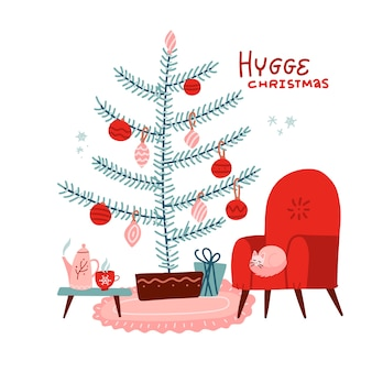 猫とテーブルのある赤いアームチェアとお茶またはコーヒー、ティーポット、。デコレーションボールとつまらないもので飾られたクリスマスツリー。フラットスカンジナビアスタイルのイラスト。