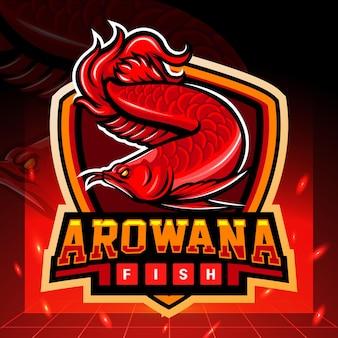 赤いアロワナマスコットeスポーツロゴデザイン