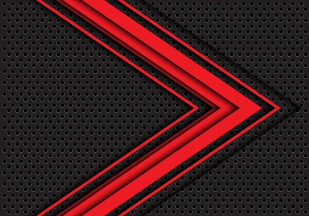 Red arrow 3d direction dark gray circle mesh background.