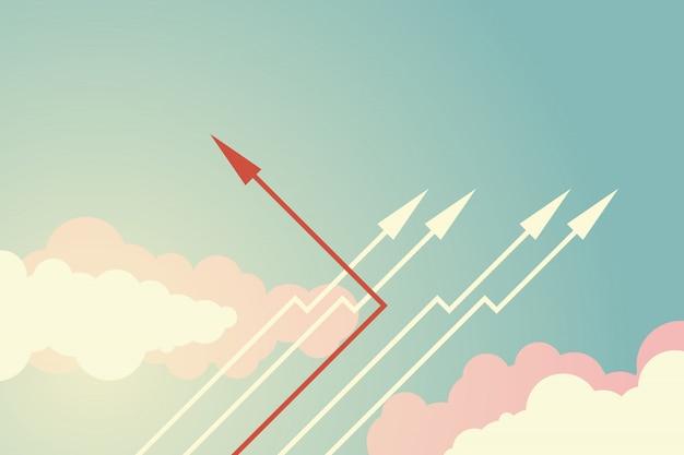 Красная стрелка, изменяющая направление и белые.