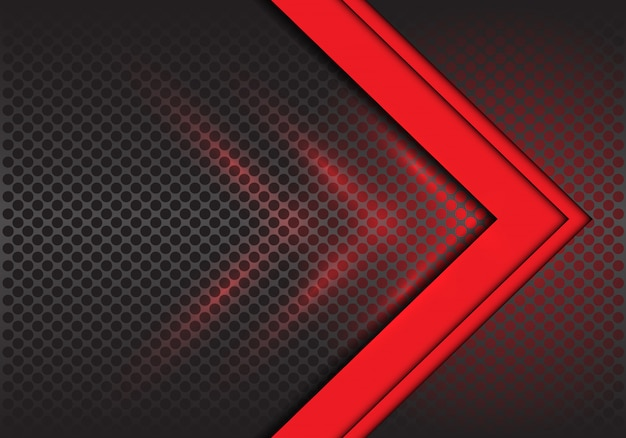 Red arrow direction on circle mesh background.