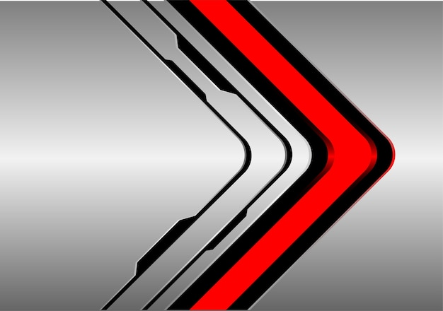 Red arrow direction on silver black line background.
