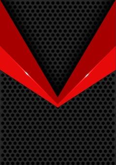 Red arrow glossy on dark circle mesh background.