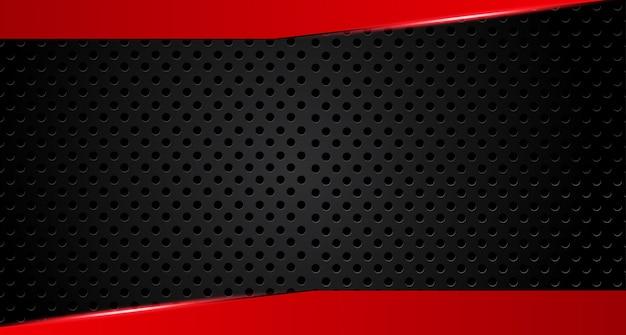 暗い灰色の丸メッシュデザインモダンな未来的な背景に赤い矢印