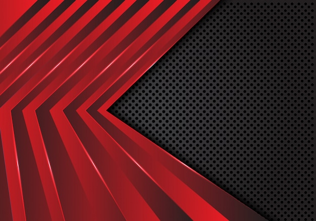 어두운 회색 원 메쉬 배경에 빨간색 화살표 패턴입니다.