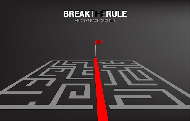 Red arrow route break out of maze to flag template