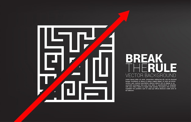 Red arrow route break out of maze template