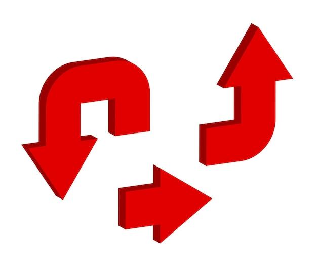 赤い矢印アイコンが設定されます。 3dスタイルのベクトル矢印アイコン。