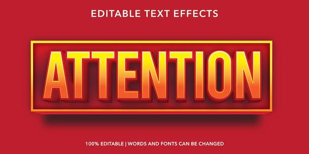 赤い注意編集可能なテキスト効果