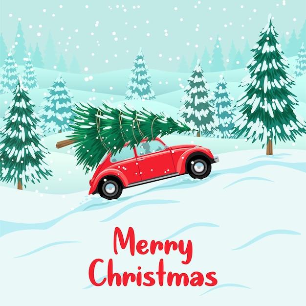 Красный автомобиль с елкой на крыше, снежный лес, подготовка к празднованию